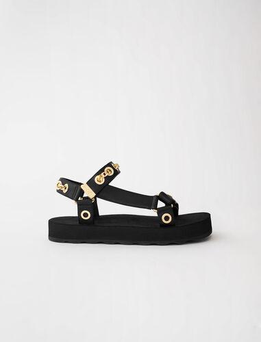 链式嵌孔女士凉鞋 : 靴子及乐福鞋 顏色 黑色/BLACK