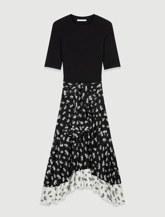 Trompe l'œil printed satin dress - Dresses - MAJE