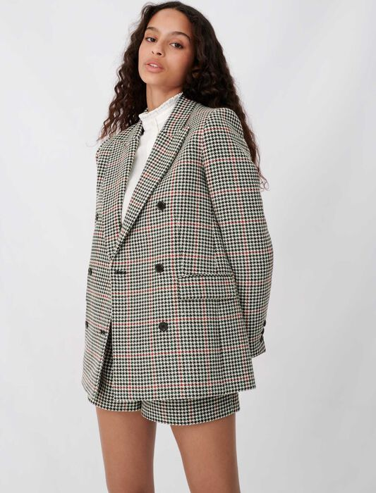 Double-breasted checked jacket : Coats & Jackets color Multi-Coloured