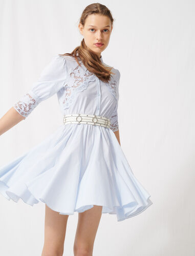 Skater dress with tie belt : Dresses color Blue Sky