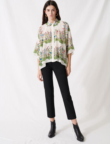 Oversized floral shirt : Shirts color Ecru / Green