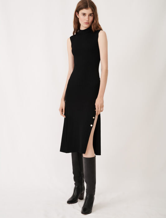 Stretch knit slit dress : Dresses color Black