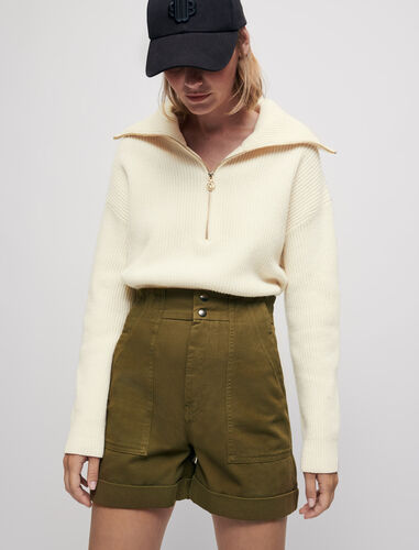 Khaki cotton canvas shorts : Shorts color Khaki
