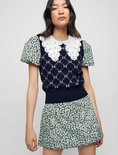 蝴蝶结菱格图案背心 : Sweaters & Cardigans 顏色 深蓝色/NAVY