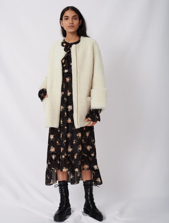 Belted shearling coat : Coats & Jackets color Ecru