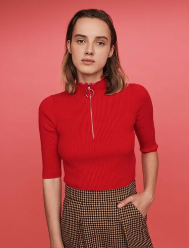 Fancy and zipped turtleneck sweater : Tops color Ecru