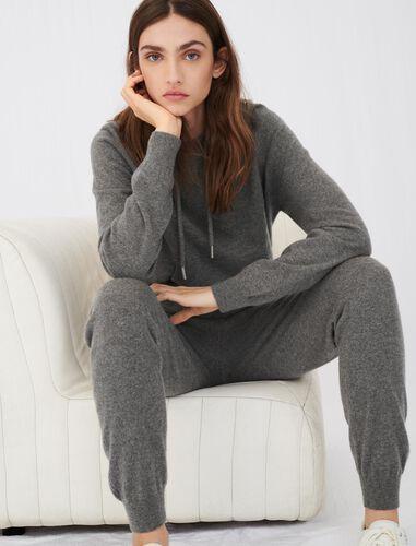 Cashmere jogger-style pants : Trousers color Grey