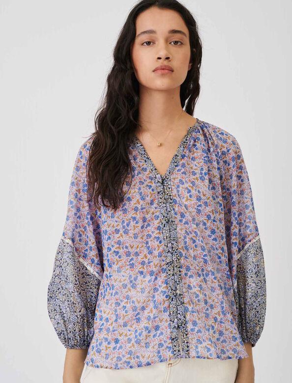 Cotton voile shirt to tie : Shirts color Blue