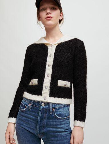 拼色短款针织开衫 : Sweaters & Cardigans 顏色 黑色/BLACK