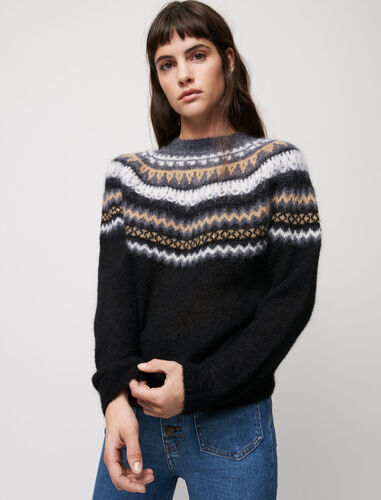 Jacquard sweater : Sweaters & Cardigans color Black