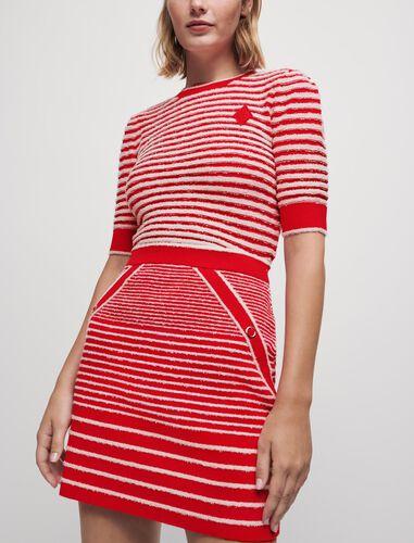 圆领条纹针织半身裙 : 半身裙及短裤 顏色 蓝白条纹/Navy