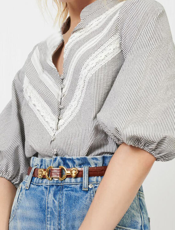 Top with stripes and lace braid trims - Tops & T-shirts - MAJE