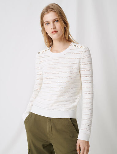 Jumper with intricate button details : Sweaters color Ecru