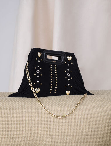 Suede Mini M bag with heart studs : M Bag color Black