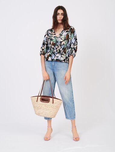Basket bag in palm and leather : Shoulder bags color Caramel