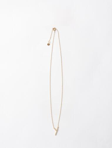 字母y水钻装饰项链 : 首饰 顏色 金色/GOLD