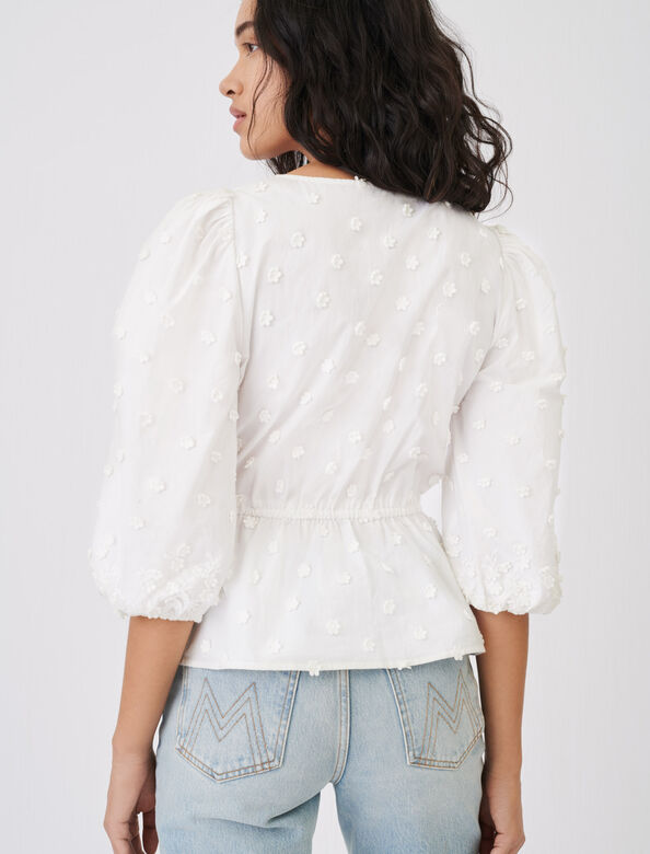 Embroidered top, gathered at the waist : Tops color White