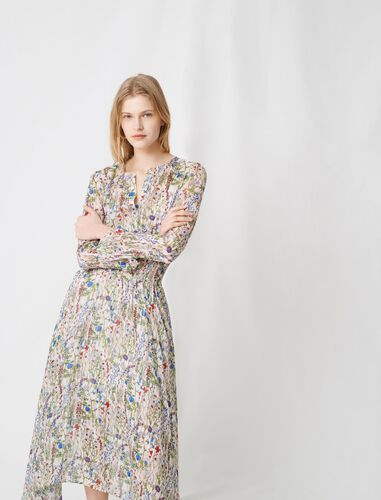 Floral-print long asymmetric dress : Dresses color Ecru / Green