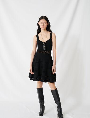 Openwork knit skater dress : Dresses color Black