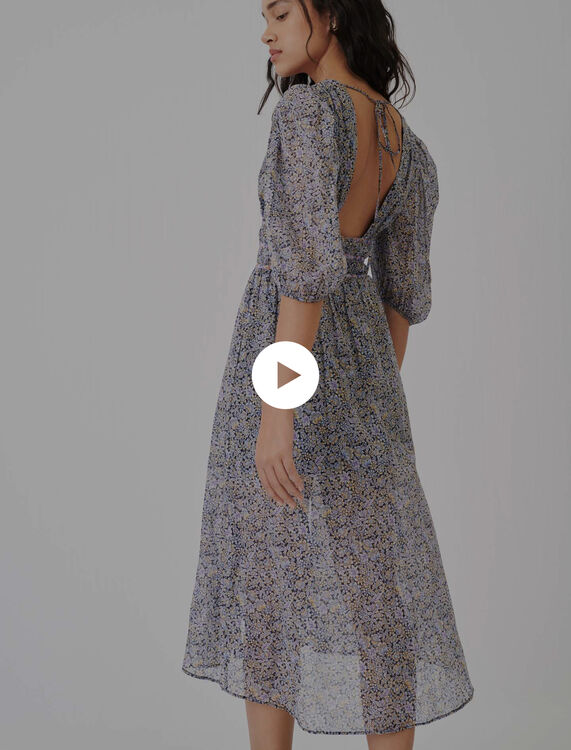Printed cotton voile skirt with smocking - Skirts - MAJE