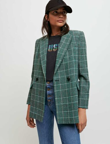 Double-breasted checked jacket : Coats & Jackets color Green