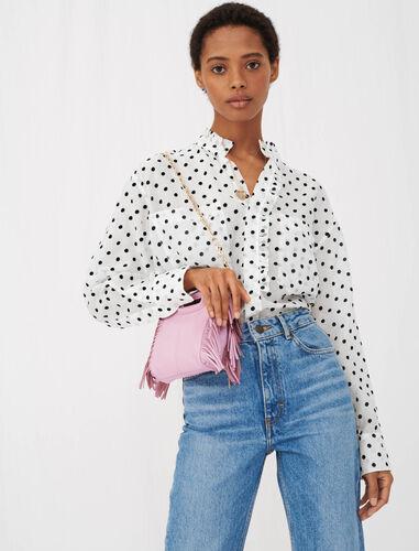 Voile shirt with velvet polka dots : Shirts color White / Black