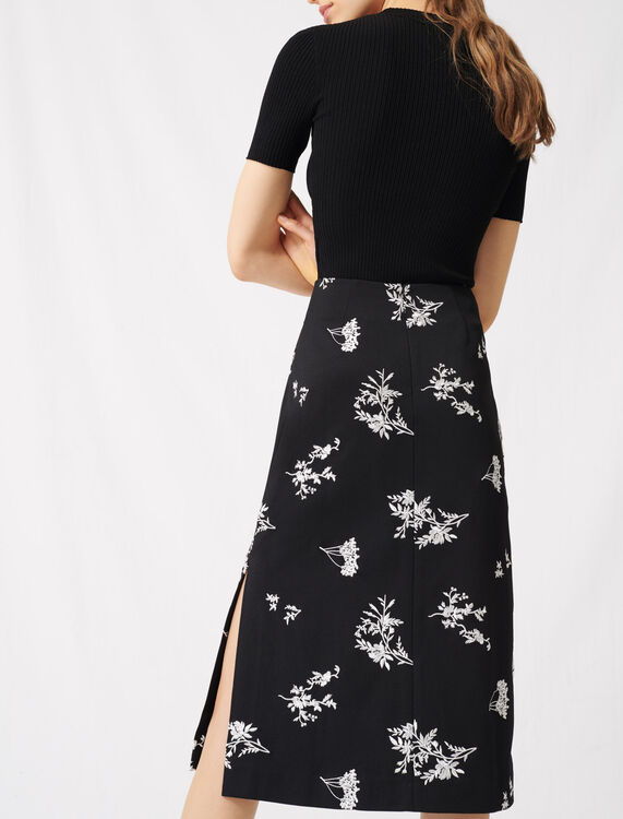 Midi skirt in embroidered crêpe : Skirts color Black / White