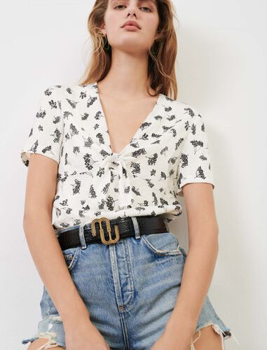 Low-cut printed jacquard top : View All color White/Black