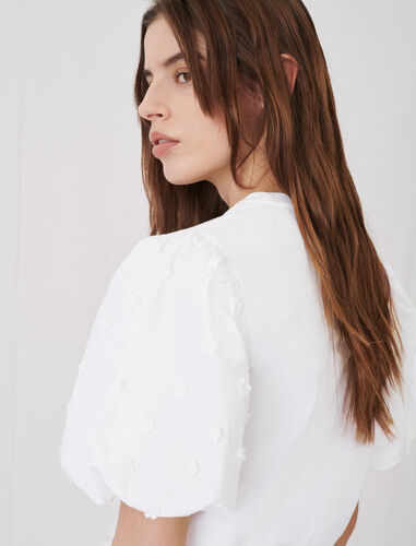 Mixed material T-shirt : T-Shirts color White