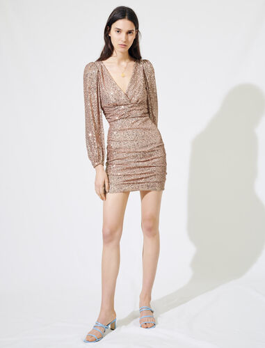 Sparkly mini dress : Dresses color Metal Pink