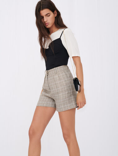 Checked linen shorts : Shorts color MASTIC