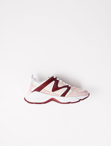 W20 mixed material sneakers : W20 color Burgundy