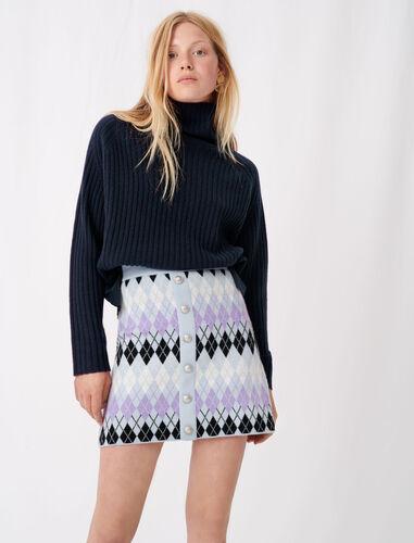 Argyle jacquard skirt : Skirts color Parma Violet