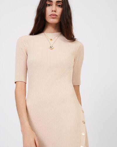 Stretch knit figure-hugging dress : Dresses color Beige