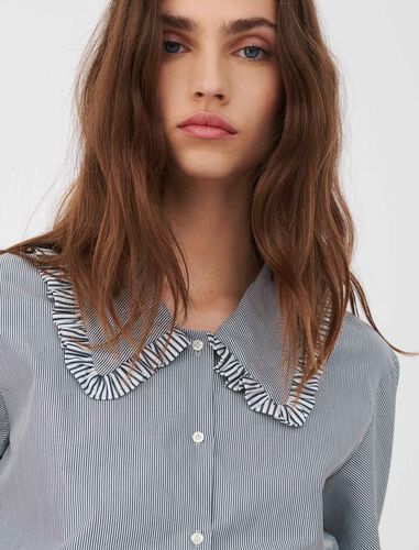 Striped shirt with large collar : Shirts color Grey