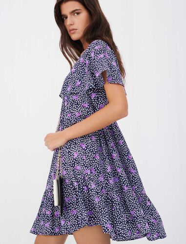 Baby doll dress in printed crêpe : View All color Blue Purple