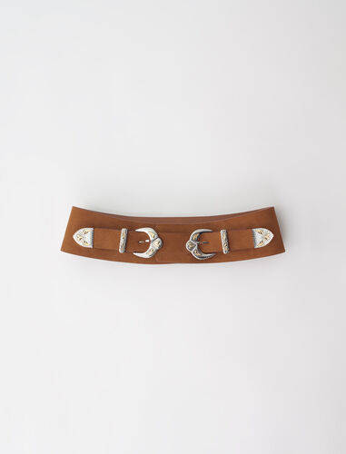 Western suede belt with double buckle : Belts color Black