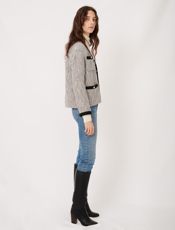 Tweed-style jacket with contrast details : Coats & Jackets color Silver