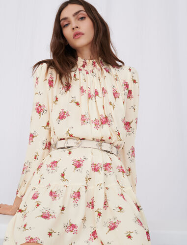 Baby doll dress in printed crêpe : Dresses color Grunge flowers white pink