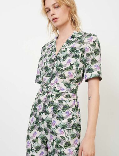Printed viscose linen playsuit : Jumpshort & Jumpsuits color White/Green/Purple
