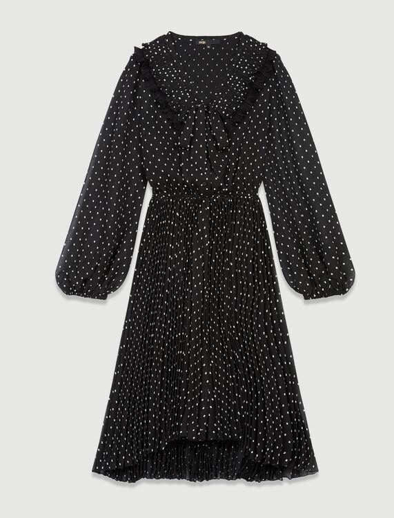 Polka dot effect pleated muslin dress : Dresses color Black / White