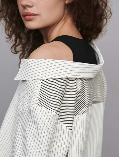 Striped trompe l'oeil top : Shirts color White