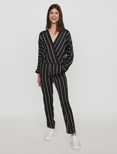 Jumpsuit with racing stripes : Trousers color Black