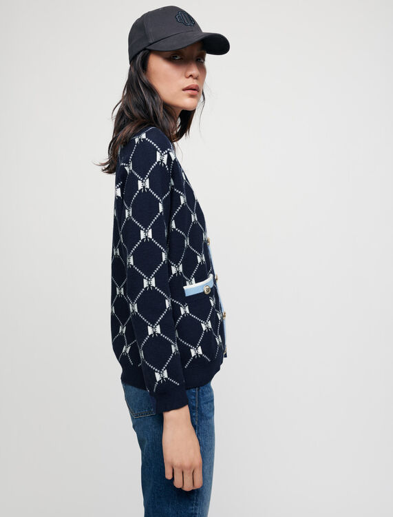 Jacquard cardigan with contrasting bows - Sweaters & Cardigans - MAJE