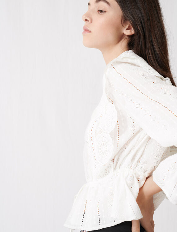 White top with broderie anglaise : Tops color White