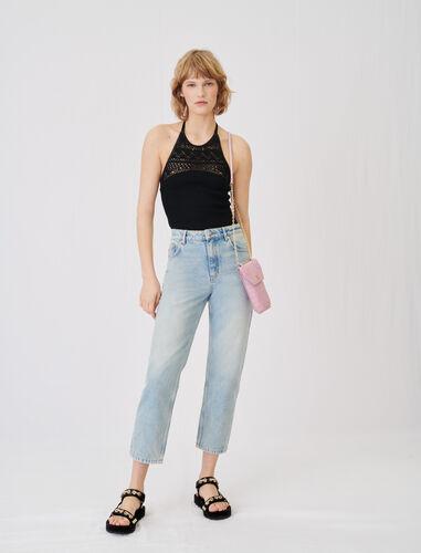 水洗高腰牛仔裤 : 牛仔裤 顏色 天蓝色/BLUE SKY