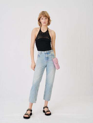 High-waisted jeans : Jeans color Blue Sky