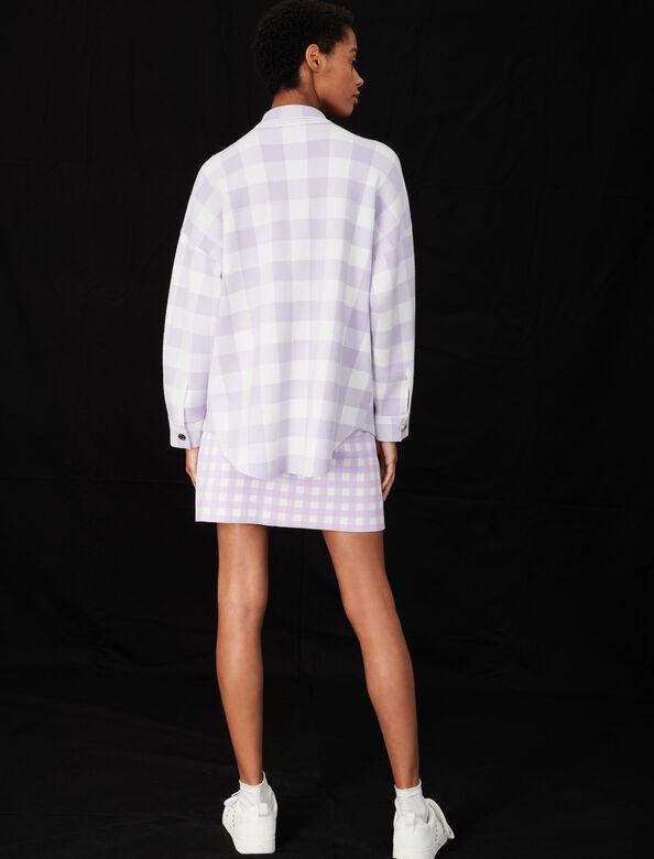 Overshirt-style checked cardigan : Cardigans color Ecru Purple