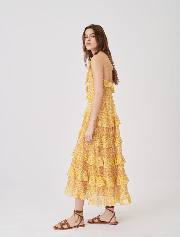 Printed cotton voile dress with ruffles : Dresses color Orange
