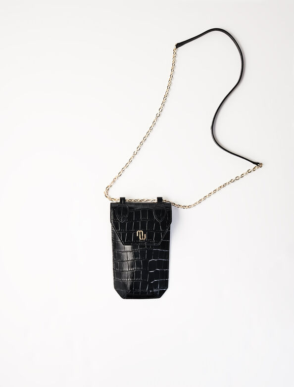 Crocodile-effect phone case : Small leather goods color Black